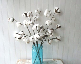 3 Faux cotton floral stem picks 20 inch silk floral wired stems for arrangements wedding bouquet supply Southern Farmhouse