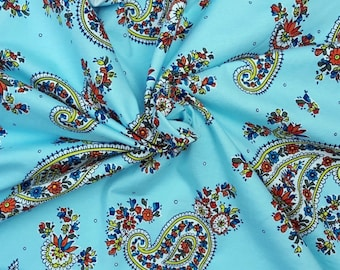 Cotton Lycra Fabric Paisley Flower Print Jersey Knit By The Yard Aqua #6 4/17