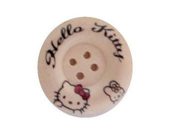 3 buttons wood sewing/child/scrapbooking 3 cm small cat HELLO II