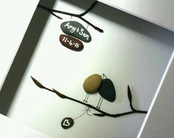 Lovebirds, a unique wedding gift from Ireland. Personalized pebble art love memento. Also great as an anniversary or engagement gift.