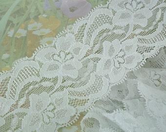 "Elastic Stretch White Fabric Lace Ribbon Trim 2"" + Wide Floral Design diy Lingerie Headband Wedding Garter boot cuffs cute"