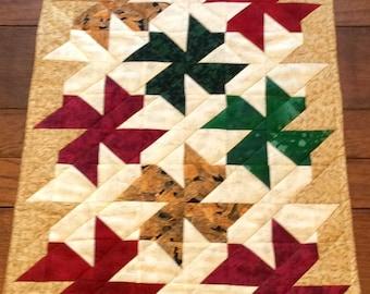 Handmade Green, Gold and Red Pinwheel Table Runner