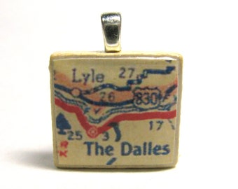 The Dalles, Oregon - your choice of 1952 or 1988 Scrabble tile map pendant