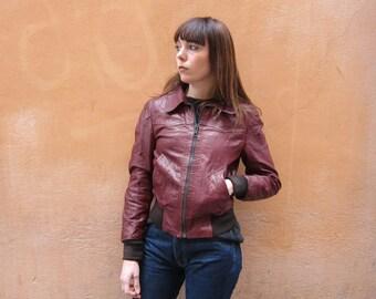 vintage 70s bordeaux burgundy genuine leather jacket xs/s