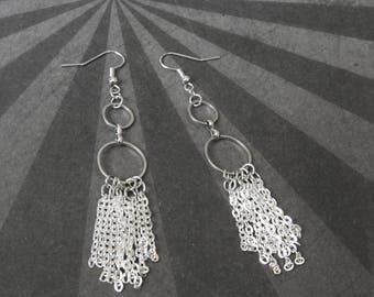 Silver Chain Tassel Earrings - Cascade Earrings - Silver Fringe Earrings - Chevron Earrings - Silver Chandelier Earrings - Gift for Wife