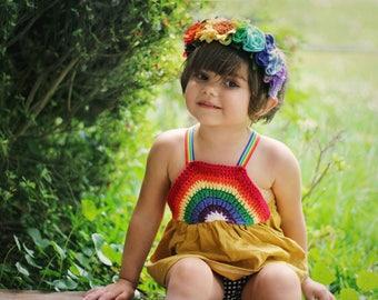 Rainbow Full felt flower crown headband