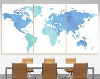 Large vintage world map antique world map canvas wall art buy blue watercolor map of the world canvas print huge blue watercolor world map canvas gumiabroncs Image collections