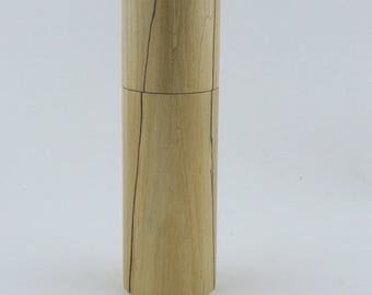 Spices and peppermill grinder in spalted Maple , Cylinder  style with rod mechanisme  7 1/2 in X 2 5/16 D. item no: 945