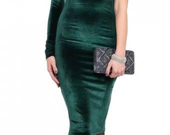 Emerald velvet dress Open shoulder dress One sleeve dress Party dark green dress Elegant dress Evening dress for women Autumn dress