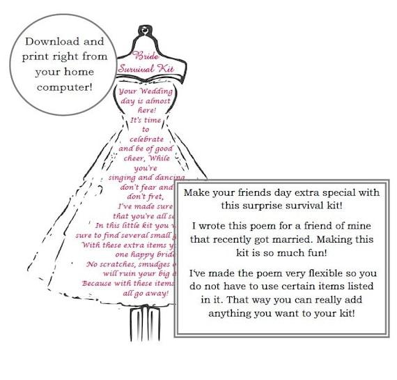Bride Survival Kit Poem Wedding Gift Digital Download