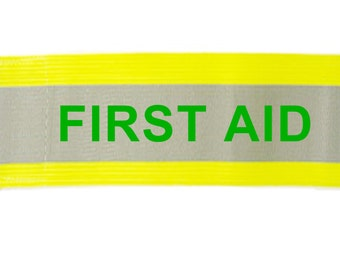 """Printed """"OFFICIAL"""" Reflective Armbands Wide Reflective Sports Safety Hi Visibility Walking ID  Yellow"""