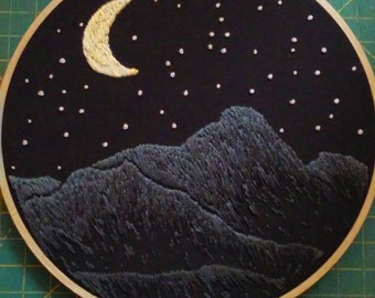 Hand Embroidered 7 inch Nighttime Mountain Landscape Hoop Art