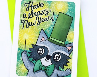 Snazzy New Year Raccoon - happy new year card Raccoon Holiday Card Boyfriend Season's Greetings holiday greeting cards Cute New Year Card