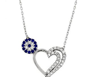 Heart necklace, evil eye necklace, heart & evil eye necklace, silver 925 necklace, zircon necklace, gift for her