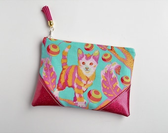 Mini Zip Pouch, Coin Pouch, Coin Purse, Card Holder, Gifts for Her, Gifts for Teens, Cat, Kitten, Pink, Fuschia, Glitter, Wristlet