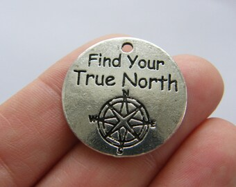 2 Find your true north charms antique silver tone M692