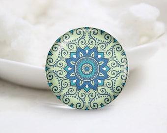 Handmade Round kaleidoscope Photo Glass Cabochons (P3756)