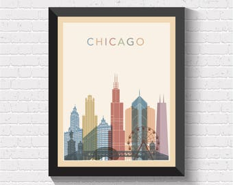 Chicago Skyline, Chicago Print, Chicago Poster, Chicago Cityscape, Chicago Art, Chicago Wall Art, Chicago Map Print, Chicago View, Illinois