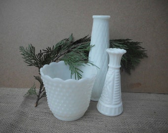 Vintage White Milk Glass Vases Instant Collection Set of Three Christmas Gift Holiday Gifts Home Decor Winter Wedding December Trends