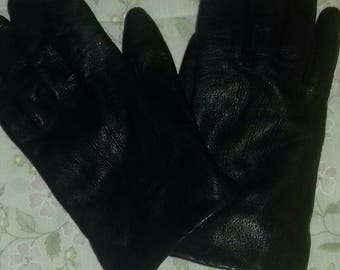 Black vintage 90's leather gloves by BHS.