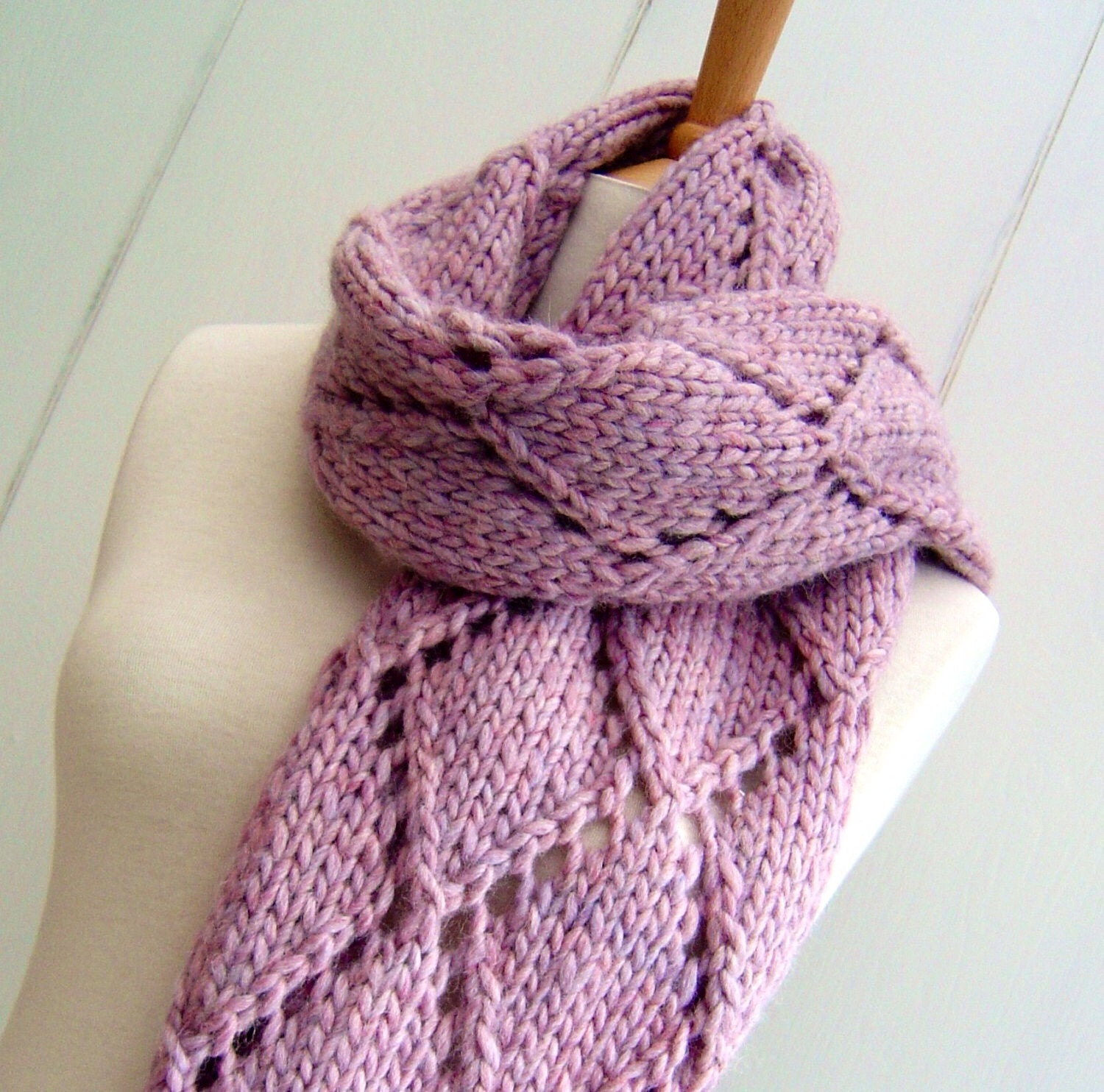 Knitting Pattern scarf wrap Easy Knit Diamond Lattice Scarf