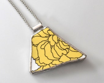 Broken China Jewelry Pendant - Yellow Flower