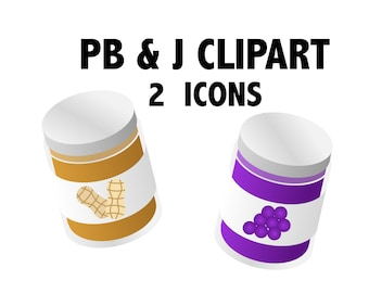 PB & J CLIPART - peanut butter and jelly icons, pbj clipart, lunch clipart, food clipart, snack clipart, vegetarian clipart, sandwich icons