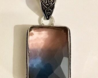Sterling Silver Bi-Color Gemstone Pendant