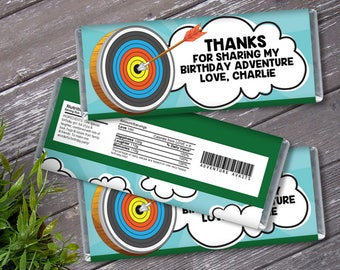 Archery Candy Bar Label/Wrapper - Adventure Awaits Birthday, Wild One Party   Editable Text - Instant Download PDF Printable
