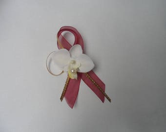 Lapel pin for wedding - gold and Burgundy - ivory Orchid