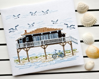 Completed counted cross stitch Finished embroidery Handmade needlepoint Rustic picture Wall decor House Nautical sea Summer Seagull Bicycle