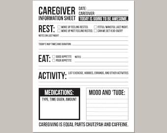 caregiver daily log sheet print