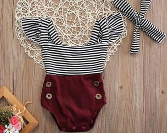 Striped baby tassel romper with headband