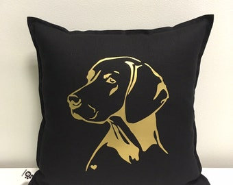 Handmade Decorative Printed Pillow Cover - Hungarian Vizsla Dog - Cushion Cover - Natural Material - Perfect Gift - Dog Lover