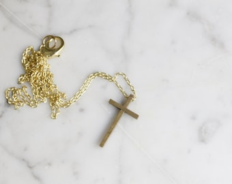 Vintage Brass Crucifix Cross Necklace | Religious Symbol