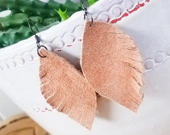 Tan suede leather feather inspired dangle earrings for women