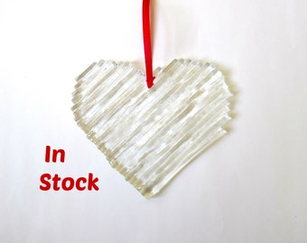 Fused glass heart, chunky clear heart light catcher, window decoration, wedding gift, love valentine gift for her, glass art, home decor
