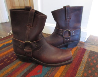 Vintage Frye Western Cowboy Boots Brown Harness Short Boots