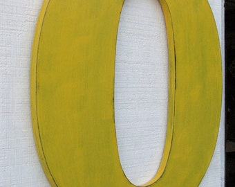 """Extra Large Wooden Letters """"O"""" 2 Feet Distressed In Golden Yellow, 24"""" tall Wood Name Letters Photo Prop"""