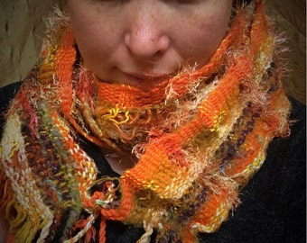 Orange oo3, Everyday Scarf handwoven and felted by me