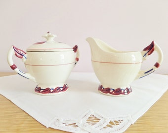 Mid Century Ceramic Sugar Bowl and Creamer - Vernon Kilns California 1940s - Monterrey Pattern - Leaf Pattern