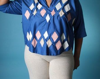 Vintage 80s Blouse // Plus Size Handmade Cotton Top with Leather Diamond Applique  // Plus Size Kimono (sz L xL)
