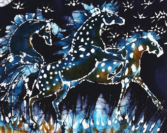 Horses Frolic on a Starry Night -  art fabric from original batik  Quilting - sewing supply