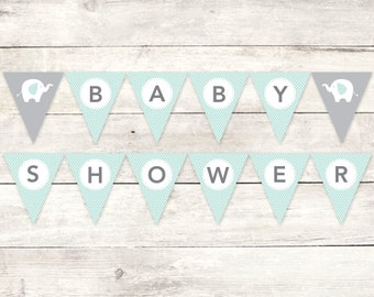 baby shower banner printable DIY bunting banner elephant sage green grey polka dots hanging banner digital triangle - INSTANT DOWNLOAD