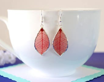 Rubber Leaf Earrings, Red Leaf, Real Leaf Jewelry, Real Rubber Tree Leaves, LESM172