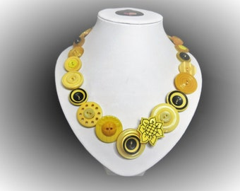 Button necklace - Amber Delight.  Gift for her, boho necklace, statement necklace, unique gift, buttons, handmade jewelry, Mothers Day, OOAK