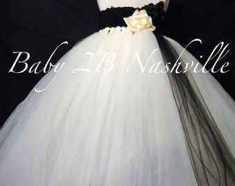 Wedding Flower Girl Dress  in Ivory with Black Accent All Sizes