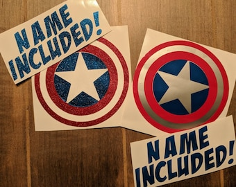 Personalized glossy Vinyl Decal, Captain, America