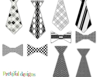 Tie and Bow Tie Clip Art - Personal or Commercial Use - Little Gentlemen 2