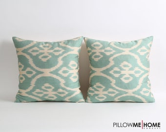 SET Of 2 silk ikat pillow covers, green white silk pillows decorative lumbar pillow